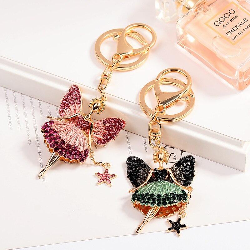 EASYA Two Styles Rhinestone Crystal Angel Key Chain Key Ring Holder Women Girls Bag Accessories Cute Enamel Car Keychain