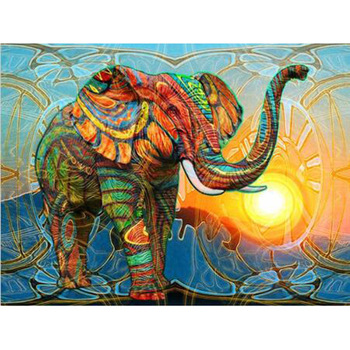 5D DIY full Square drill Diamond painting Cross stitch Colorful elephant Diamond embroidery Mosaic decor YY image