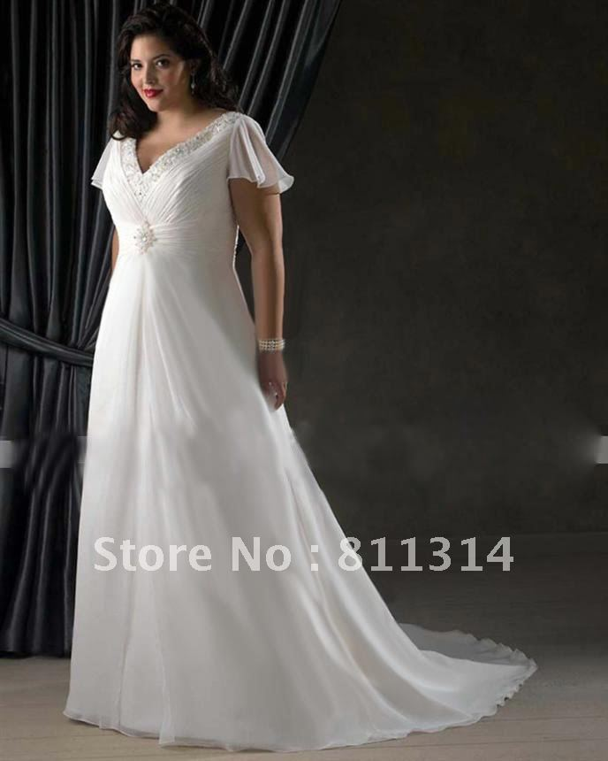Modest Plus Size Cap Sleeves Bridal Wedding Gown Bride Dress Custom