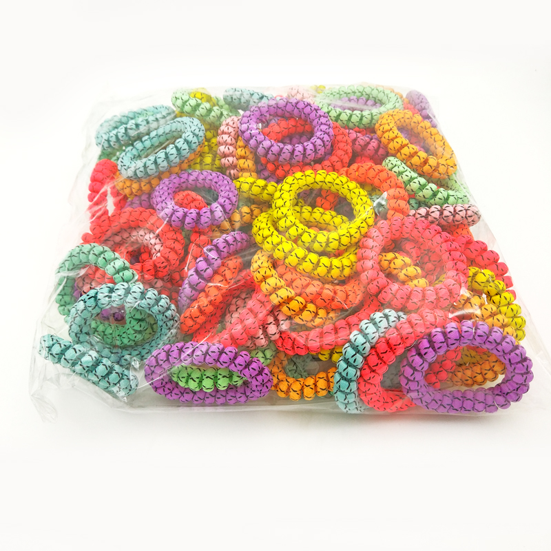 50Pcs/Lot Random Color Telephone Wire Line Cord Silver Wrap Cloth Hair Ring Gum Elastic Hair Band Scrunchy Size 5.5CM