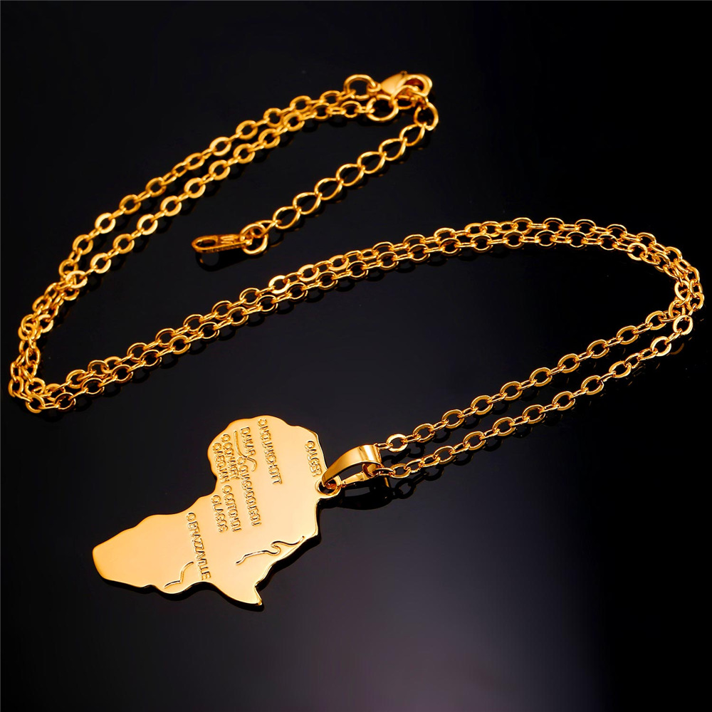 African Jewelry Fashion Necklace with Pendant For Women Men Gold