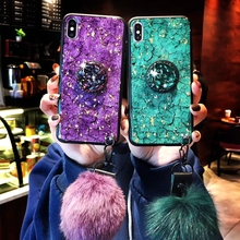 Luxury Gold Foil Bling Marble Phone Cases For Huawei Honor 9I Case Soft TPU Silicone Cover Glitter