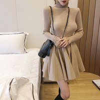 new fall winter half turtleneck patchwork knit + PU leather pleated dress