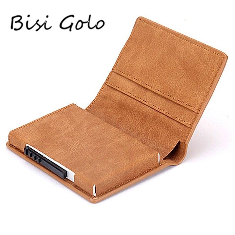 BISI GORO Neue Slim Kreditkarte Halter Brieftasche Aluminium Männer Frauen Metall Brieftasche für Karten Visitenkarte Paket RFID Protector