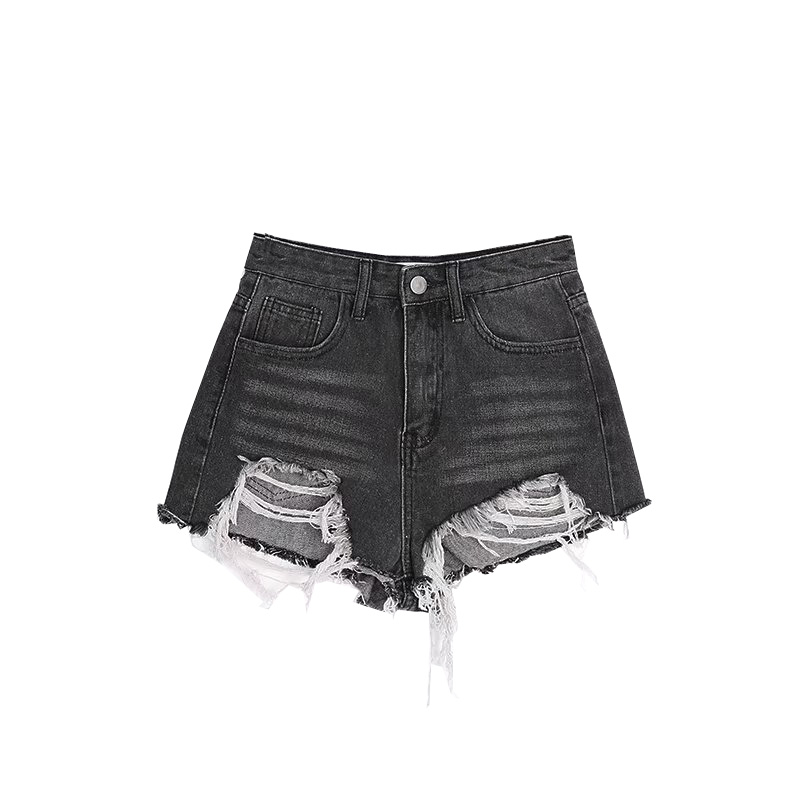 Shorts Slim Short 2018 Subida Gris Oscuro Blanqueado Mujer Ultra Denim Verano Jeans Ripped Sexy Muy Alta 0wtOt4q