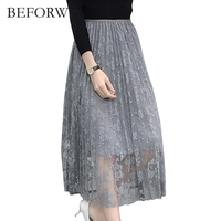 BEFORW Long Skirt Womens Sexy Lace Embroidery Hook Flowers Tulle Pleated Skirts 2017 Spring Summer Casual