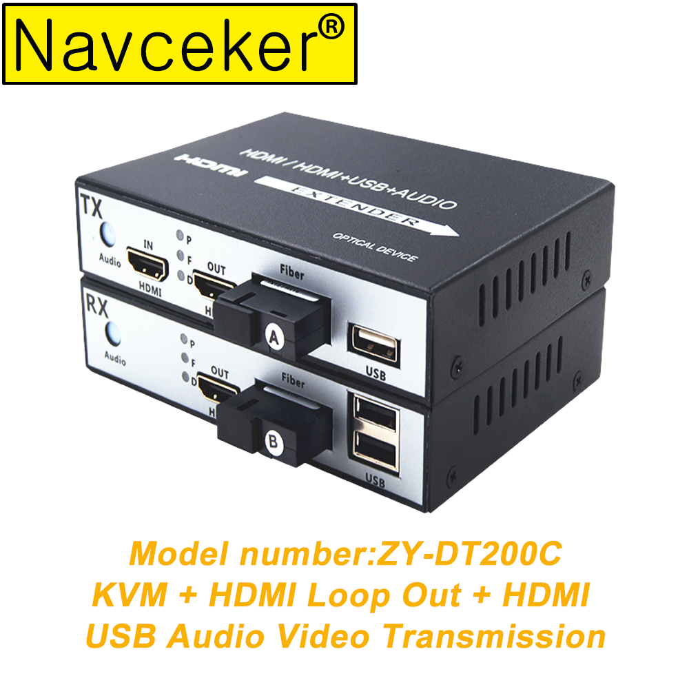 2019 HDMI Fiber Optic Converter Support USB 2.0 KVM Control 20 km HDMI Fiber Optical Extender with Loop Out Over SC Fiber Cable