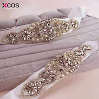 In Stock Women Belts Crystals Robbin Sash for Bride Artificial Wedding Belt for Weddings Real Images