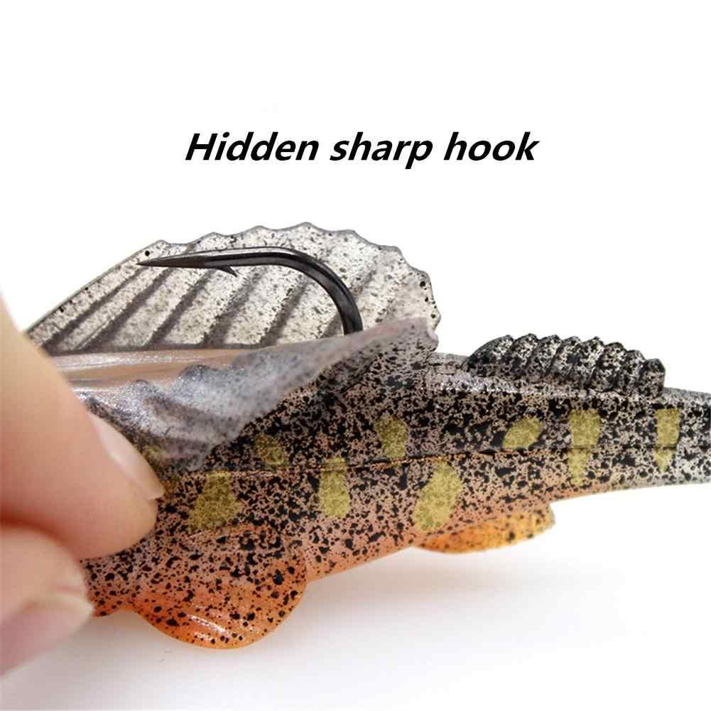 قطعة واحدة من طعم صيد السمك النائم الداكن من نوع T-Tail Shad ، طعم صيد السمك المزيف ، رأس تهزهز ملون ، رأس لينة 80 مللي متر/14 جرام