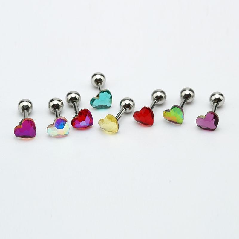 Studs Earrings Crystal Body-Piercing Heart-Ear Small Surgical-Steel Jewelry 8-Colors