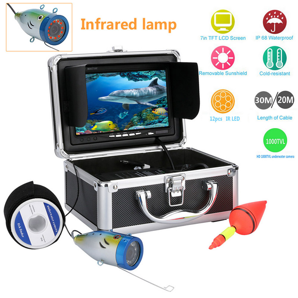 Eyoyo Original 20M/30M Underwater Fishfinder 1000TVL 7 Video Camera Monitor Anti-Sunshine Shielf Sunvisor Infrared IR 12Pcs LED 30m video