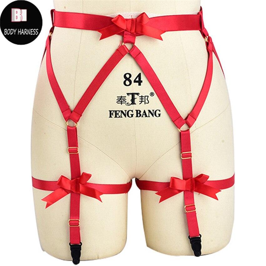 Women Wedding Garter Body Harness Rave Bondage Lingerie Bridal Bow Garter Belt Red Goth Pole Dance Leg Stocking Harness Belt