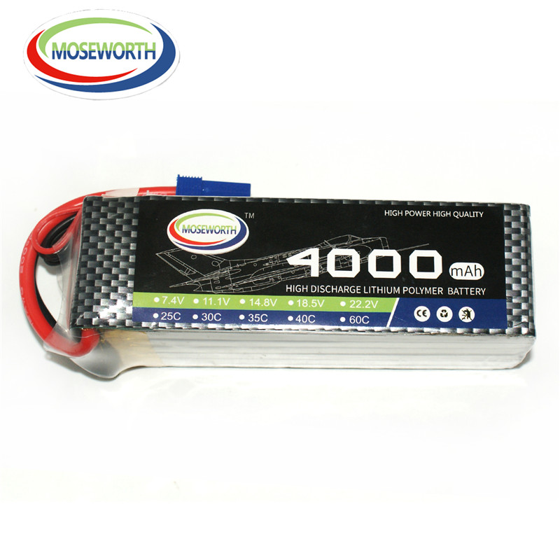 MOSEWORTH RC Lipo Battery 4S 4000mah 14.8V 25C lipo batteria for RC aircraft quadcopter Drone 4s Batteria 1s 2s 3s 4s 5s 6s 7s 8s lipo battery balance connector for rc model battery esc