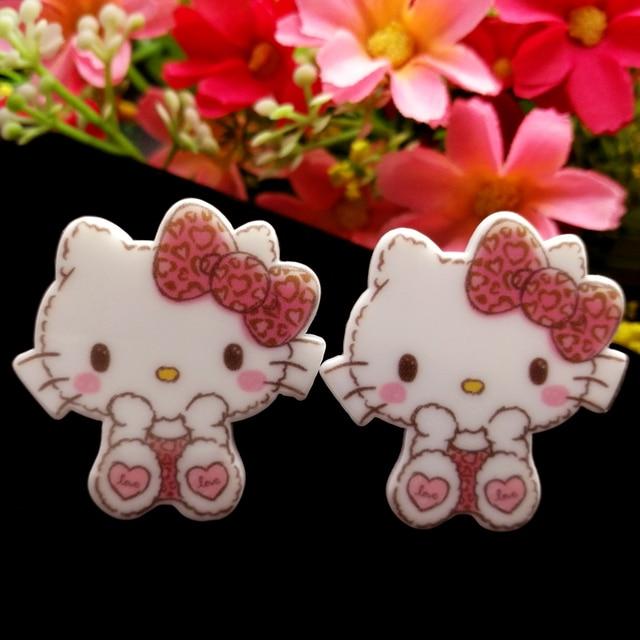 f9f22c8fc 40pcs/Lot 34x32mm Cute Bow Hello Kitty Planar Resin Flatback Cabochons Cat Flat  Back Hair