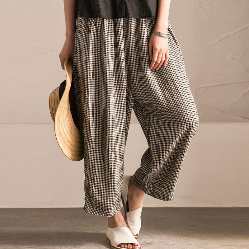 Women Elastic Waist Casual Wide Legs Baggy Loose Pants Plaid Plus Size Trousers