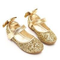 Праздничные балетные туфли на плоской подошве для маленьких девочек золотого  серебряного цвета с блестками  платье принцессы