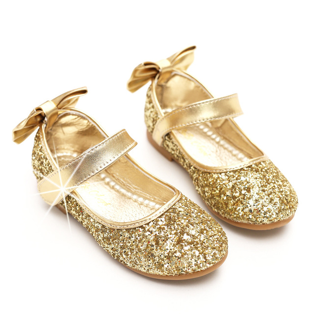 new arrivals db22c 47099 Baby Toddler Girl Gold Silver Glitter Party Ballet Flats Toddler Sequins  Glittering Show Princess Dress Shoes