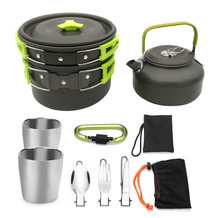 Outdoor Cookware Set Cooking Pots Pans Camping Cookware Picnic Non-stick Tableware with Foldable Spoon ,Fork Knife ,Kettle Cup недорого