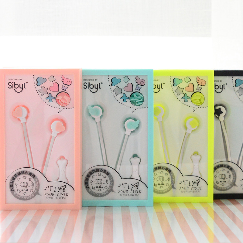 Fashion cute and multi-shape patterns can be replaced with wheat in-ear style fun headph ...