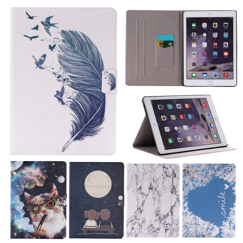 Case for iPad Air 2 Cute Patterns Flip PU Wallet Cover for iPad Air 2 iPad 6 with Card Holders Slim Thin Tablet Stand Case 9.7 2 in 1 army camo camouflage magnet wallet case with card holders for iphone 6 6s 4 7inch pu wallet purse
