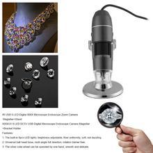Wholesale ALLOET 800XUV 8 LED DC5V USB Digital Microscope Endoscope Zoom Camera Electronics Microscopio Magnifier +Bracket Holder
