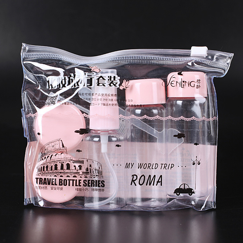 7pc/Set Travel Mini Makeup Cosmetic Face Cream Pot Bottles Plastic Transparent Empty Make Up Container Bottle Travel Accessories(China)