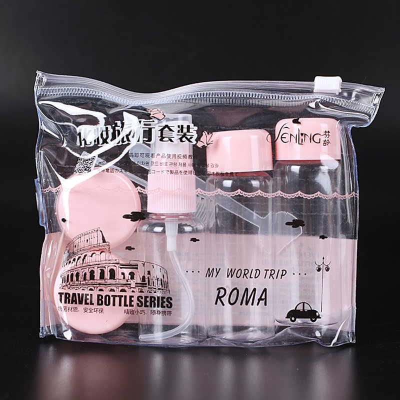 7pc/Set Travel Mini Makeup Cosmetic Face Cream Pot Bottles Plastic Transparent Empty Make Up Container Bottle Travel Accessories
