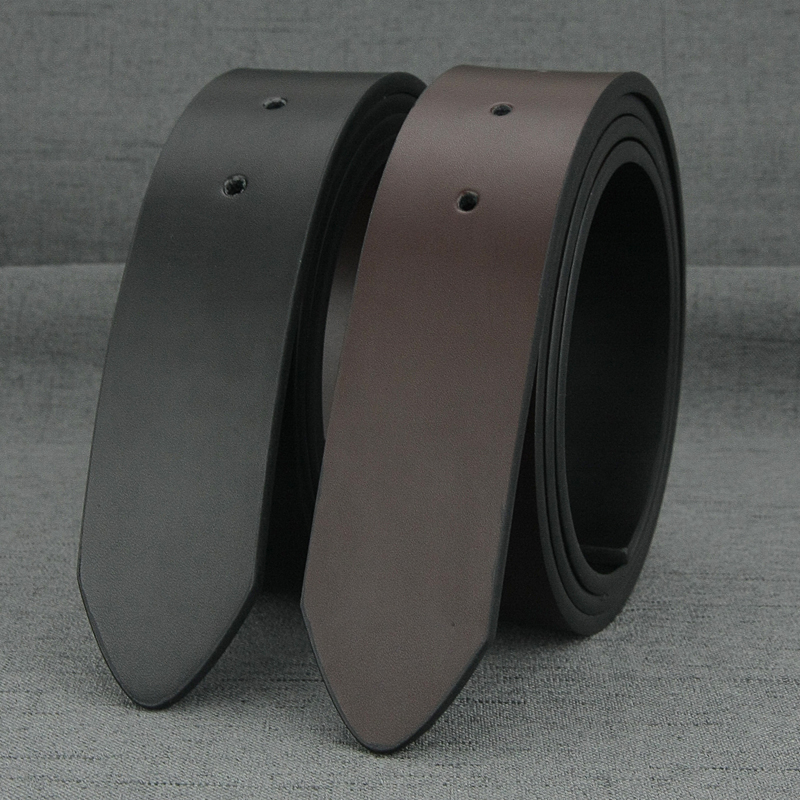 High Quality No Buckle Belt Men Fashion 3.8cm Wide Cowskin Black Waist Straps Coffee Casual  Genuine Leather Waistband