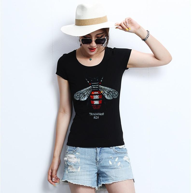 c29ffd48d0208 Women Tops for Summer High quality Women Rhinestone T shirt Bee crystal  Women Top Tees plus