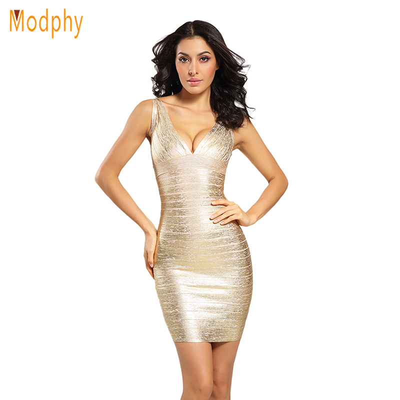 ed0ff40f76196 Women shining gold foil sexy celebrity HL bandage dress deep v strap  elastic sleeveless backless club party drop ship HL1555