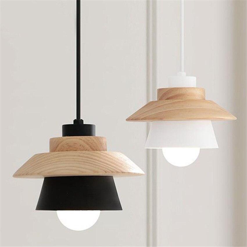 Moderne Nordic Lampe Holz Aluminium Pendelleuchten Kreative Wohnzimmer Schlafzimmer Restaurant Bar Deco Hngelampen
