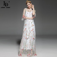 High Quality Newest 2017 Runway Maxi Dress Women S Flare Sleeve Vintage Floral Embroidery Floor Length