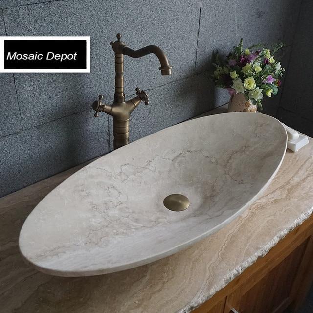 Owalny Blat Umywalki Umywalki łazienka Kamień Trawertyn Umywalka