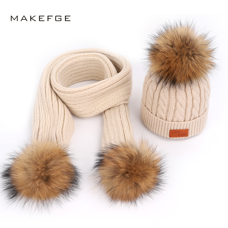 Children's Knitted Scarf Hat Glove Sets Hats Autumn And Winter Warm Knitted Cotton Caps Boy Girl Raccoon Fur Pompom Kids Beanie