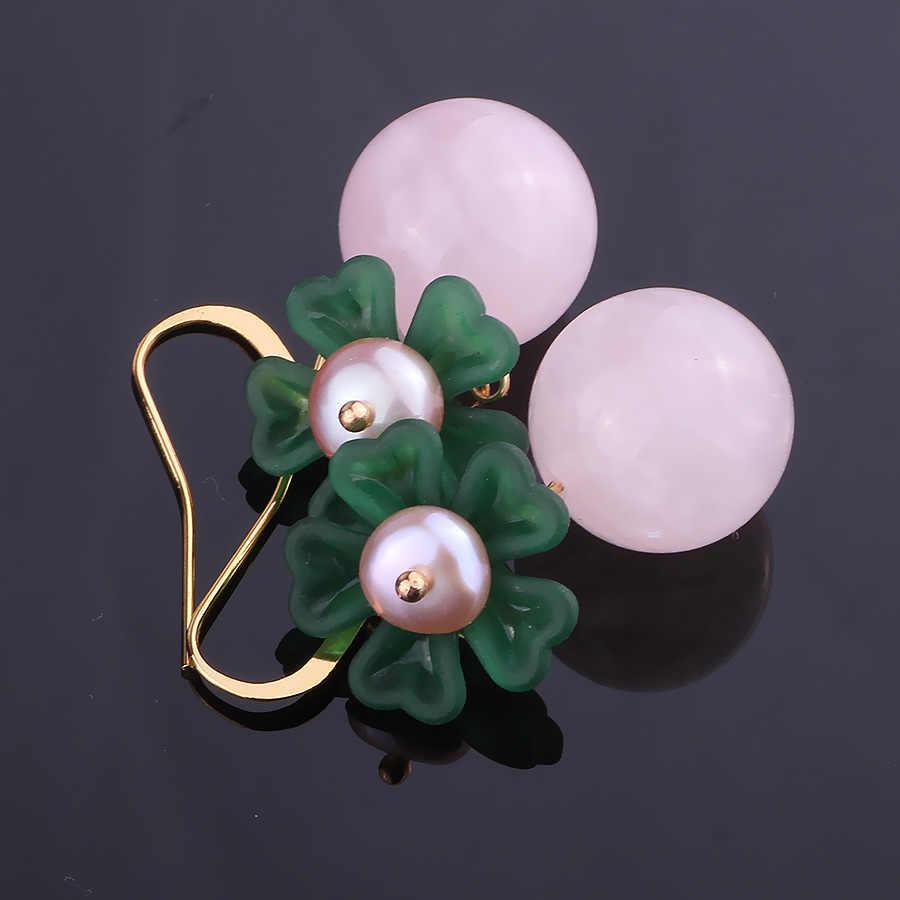 FARLENA Gioielli Fatti A Mano Fiore di Pietra Naturale Orecchini a pendaglio con perle d'acqua dolce Vintage Etnico Rosa Orecchini di Cristallo Della Ragazza