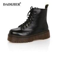 Модные женские ботинки; сезон весна-осень; мотоциклетные ботильоны на платформе; женские ботинки; обувь из искусственной кожи черного цвета...