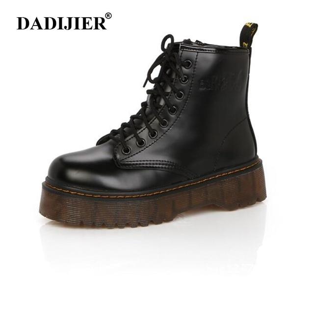 2416db6d Moda kobiet buty wiosna jesień motocykl kostki platformy buty damskie buty  czarny PU skórzane buty kobiet
