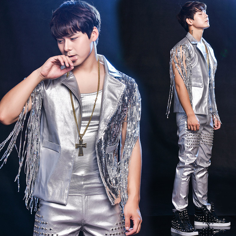 mens silver sequins tassels top vest with pants dance suit/stage performance/studio/Asia size