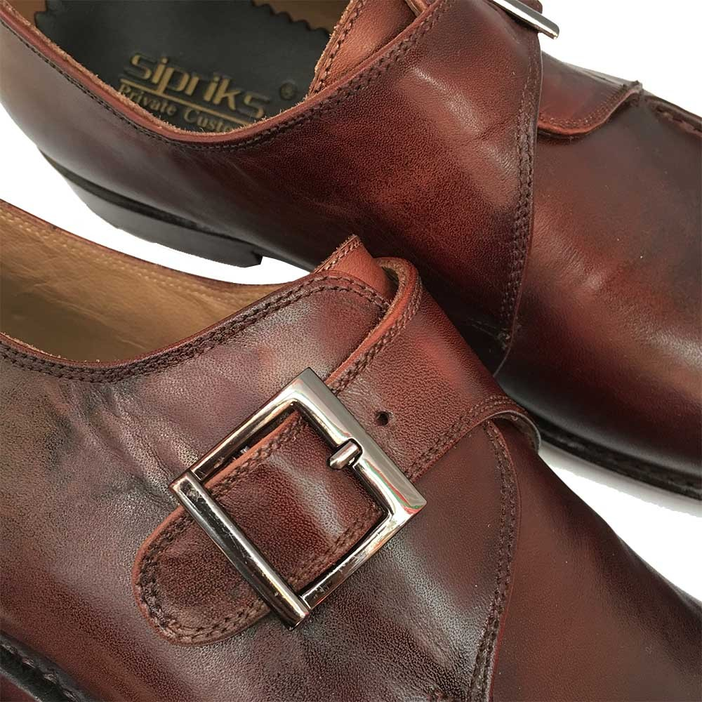SIPRIKS italian handmade Goodyear welted shoes dark brown single monk strap dress  shoes unique men shoes leather european flats-in Formal Shoes from Shoes ... 2819f1f6faad