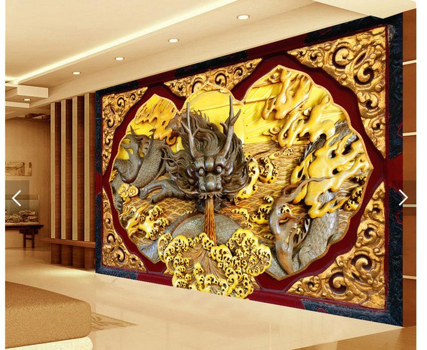 3d personnalis papier peint dcoration de la maison en relief dragon tv fond dcoration murale peinture salon 3d papier peint