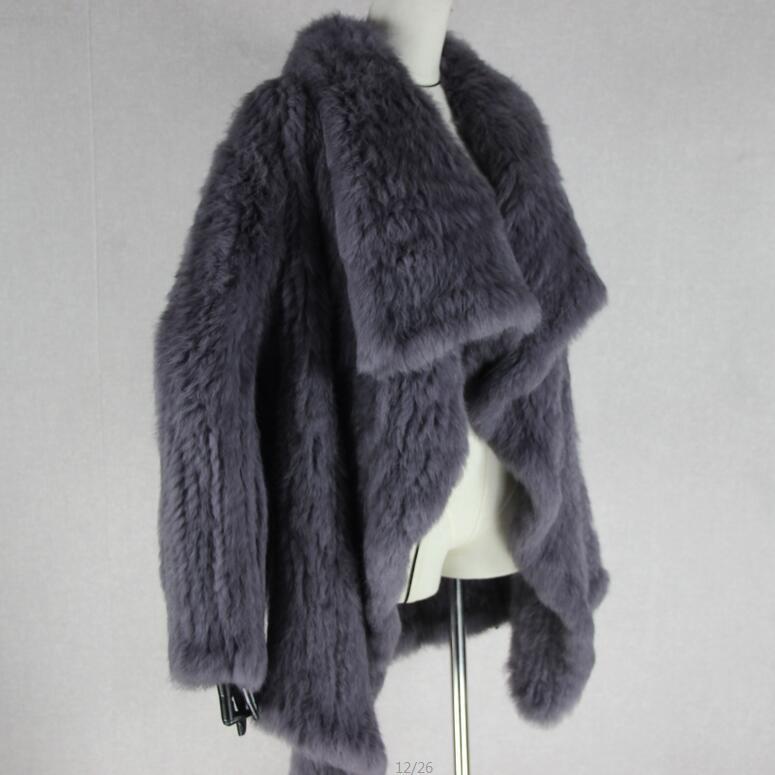 Трикотажный кардиган из натурального кроличьего меха, вязанные меховые накидки, шаль, пальто с кроличьим мехом, утепленное меховое пальто, женский модный стиль летучей мыши - Цвет: 2