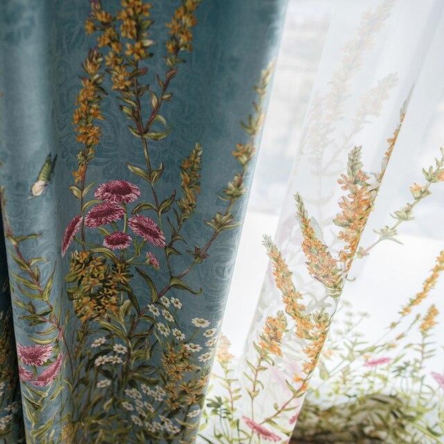 Пользовательские шторы пастырское американский стиль печатные жаккардовая ткань французское окно синий шторы ткани blackout Тюль N372
