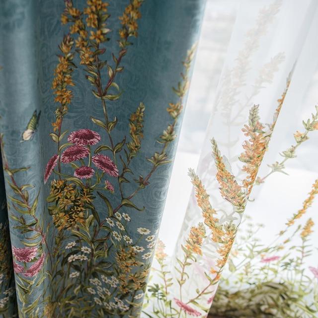 Пользовательские шторы пастырской Американский стиль печатная жаккардовая ткань остекленной двери, занавески, синие шторы ткань плотные ш...
