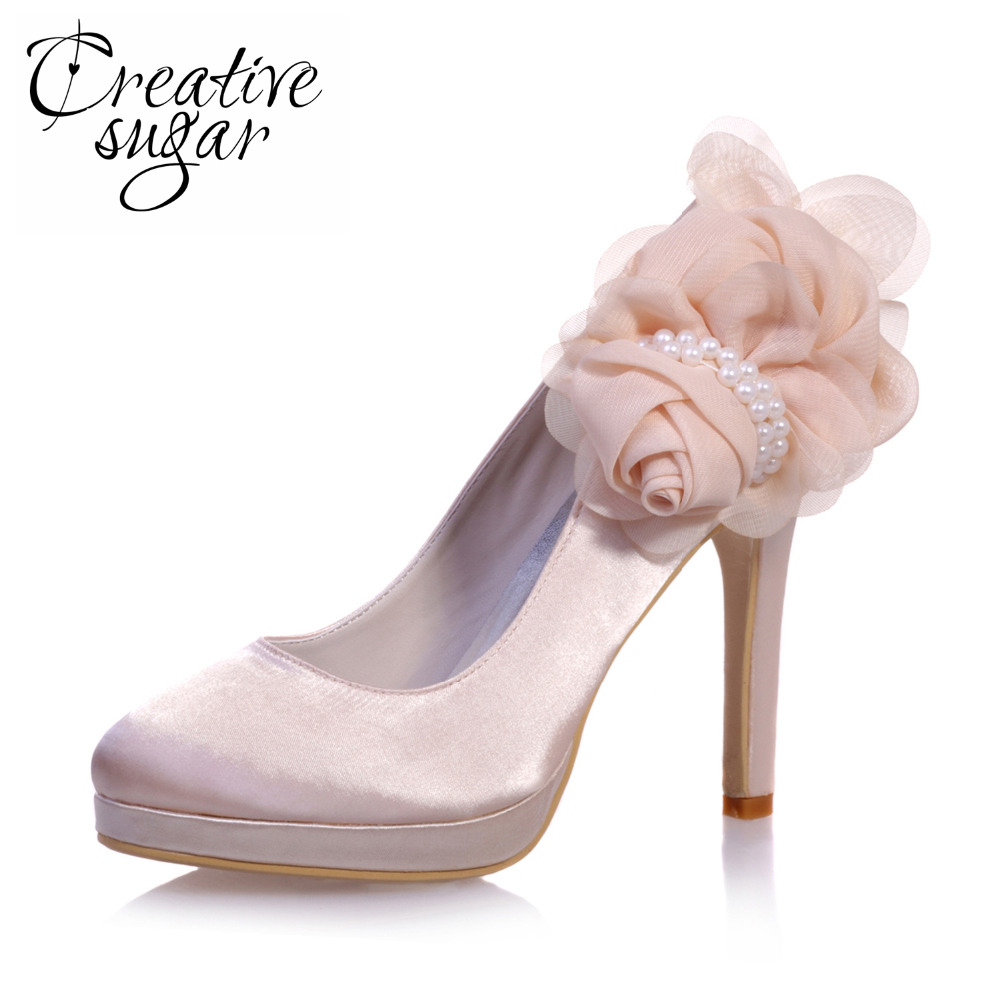 acb371cc0d2d9 Creativesugar Sweet 3D flower applique platform satin dress shoes party  wedding date fashion show platform high heels Champagne