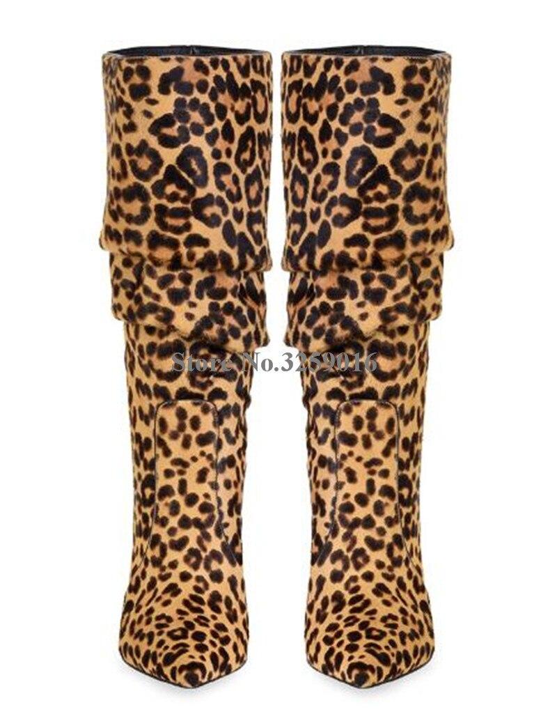 Haute as Robe En Léopard Picture Picture Sexy Mince Pointu Mode Longtemps Cuir Chaussures As Daim Hauts Bottes Imprimé À Bout Genou Talon Femmes Talons 4qvUgBg