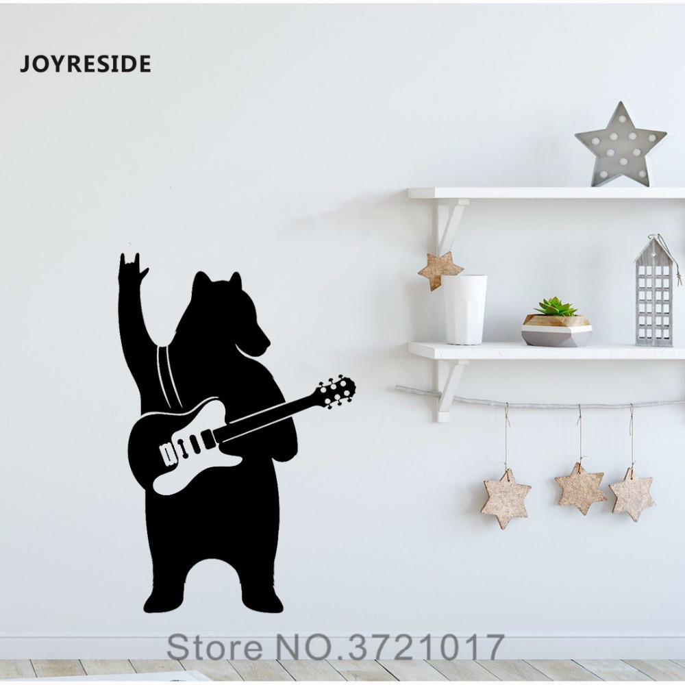 JOYRESIDE Bear With Guitar Wall Music Decal Vinyl Design Sticker Home Interior Living Room Bedroom Decor Office Decoration A139