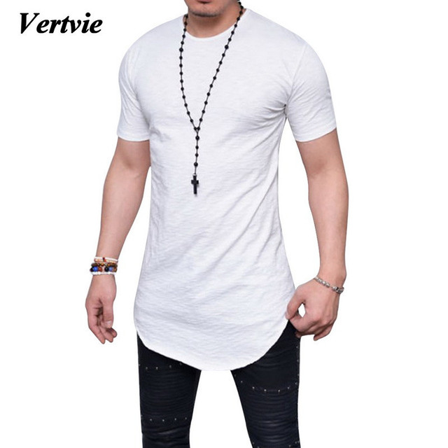 a8e4891c411 VERTVIE 2018 Basic Solid T-shirt Men Summer Short Sleeve O-neck Cotton  Tops Tees Male Homme Casual Holiday Long Tee Shirts