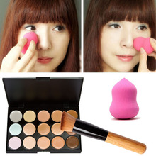 15 Colors Cream Makeup Set Concealer Palette Sponge Gourd Puff Powder Brush with Wooden Handle pinceis de maquiagem