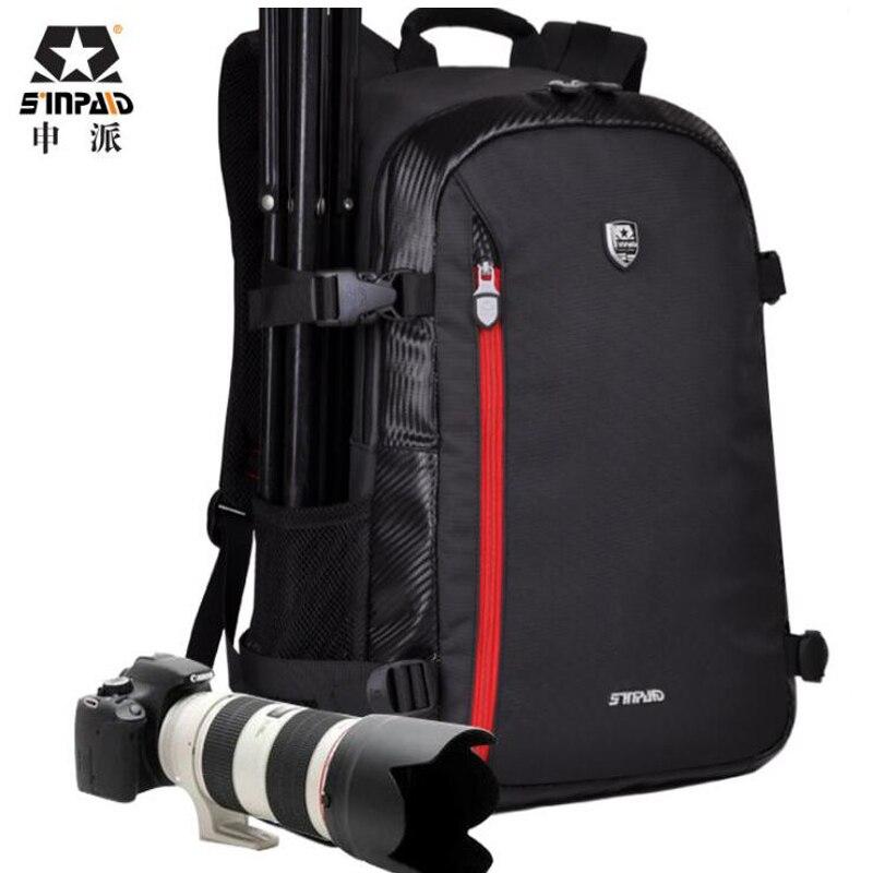 Sinpaid Big Capacity Travel SLR Camera Photography Bag Waterproof Backpack Bags Backpack Male For Canon Nikon Mochila caden m3 outdoor travel nylon shoulder bag for canon slr