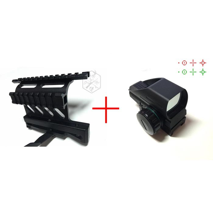 Holographic 1x22x33 Reflex Green Red Dot Sight Reflex Scope +Tactical AK Side Mount Quick QD Style 20mm